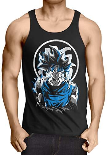 style3 Super Saiyan God Blue Camiseta de Tirantes para Hombre Tank Top Vegeta dragón, Talla:S