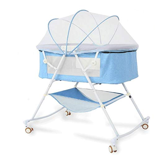 Why Choose VAIY New Born Adjustable Baby Cot Baby Bed Baby Crib Linen with Silent Wheel (Color : Blu...