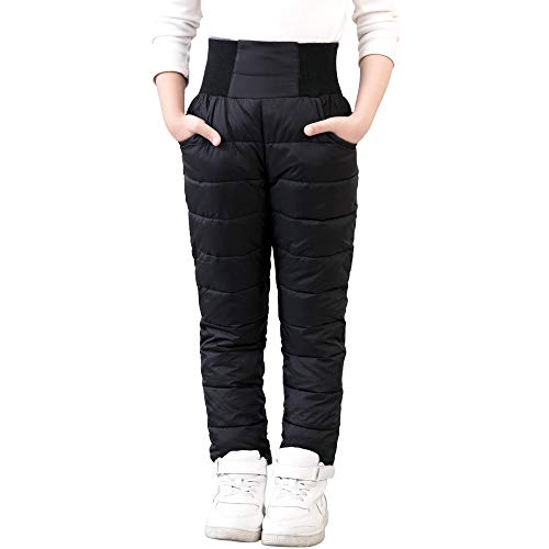 UGREVZ Girls Boys Snow Pants 2-9 Years Old Thick Winter Warm Pants Girl Activewear Clothes(A0001Black-10)