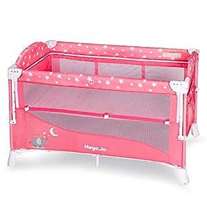 Heyo.Ja Baby Playard ,4 in 1 Portable Pack and Play, Nursery Center Crib Bedding Set, Portable Playpen, Wheels & Brake, Mattress,Game Entrance Carry Bag for Girls (Pink)