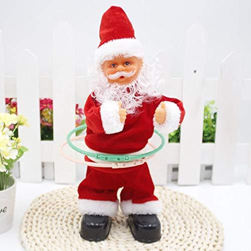 Nwn 30CM Hohe Elektrische Weihnachtsmann Mit Musik Hula-Hoop Elektrische Puppe Geschenk for Kinder