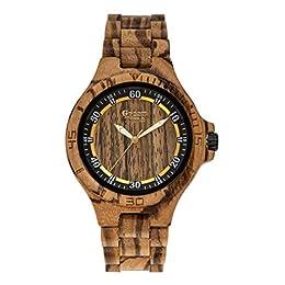 Materiale cinturino: legno zebrano Colore del quadrante: marrone Meccanismo: al quarzo Materiale della cassa: 100% legno: legno zebrano Funzioni: lancette luminose