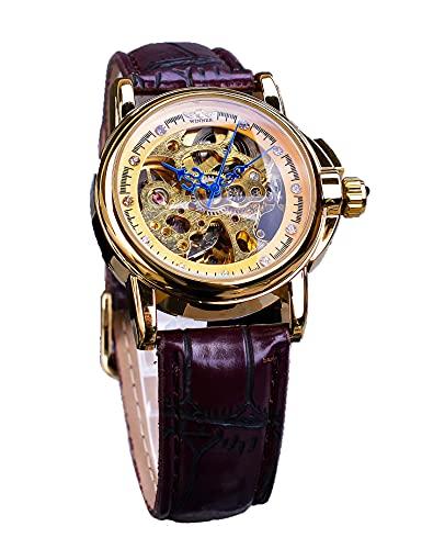 Ganador de moda luminoso esqueleto automático mecánico relojes de mujer vestido de diamante retro correa de cuero relojes de pulsera elegantes relojes de regalo para mujeres para mujer