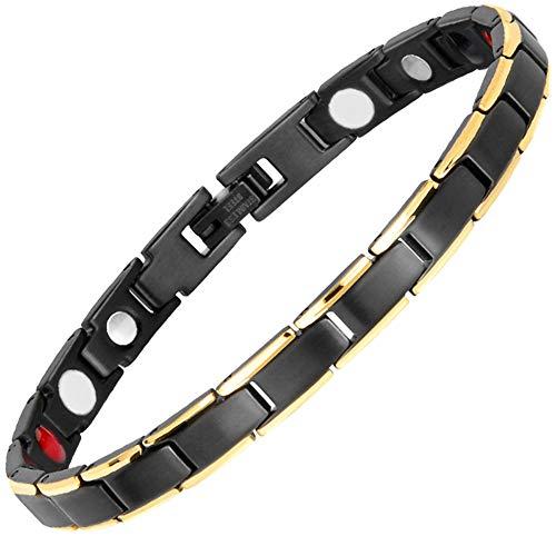 Hottime Magnetarmband dame für damen Magnetische Armbänder Magnet Schmuck Armband Gesundheit Schmerzlinderung Schwarz Schmal Therapie-Armband Arthritis Gelenke Schmerzen Magnetisch Armreif Geschenkbag