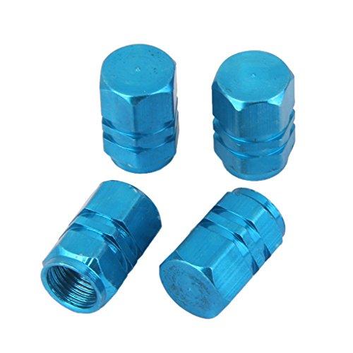 4x Tapas Tapones Válvulas Cubierta de Neumático Aluminio para LLanta de Camión Coche Azul