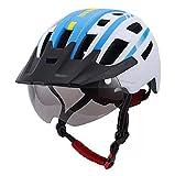 MYMAO Adultos Casco de Bicicletas para Hombres Mujeres Detectable Goggle Visor Casco de Bicicleta con luz Trasera USB Casco de Ciclo de montaña Casco,D