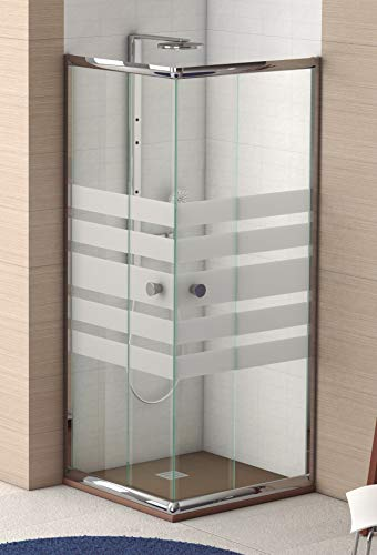 Mampara de Ducha Angular Modelo POPULI (2 Hojas Fijas y 2 Correderas) Cristal Decorado de 6mm y Perfil Aluminio Cromado Plata 70x70 (Adaptable 69-70cm a 69-70cm)