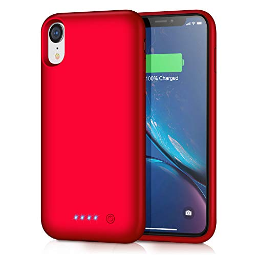 Trswyop Battery Case for iPhone XR, 6800mAh Portable Charging Case for iPhone XR Rechargeable Backup External Battery Pack Extended Battery Protective Charger Case(6.1inch)-Red