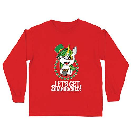 lepni.me Camiseta para Nio/Nia Vamos a ser tumbados! Afortunado da de San Patricio del Unicornio (5-6 Years Rojo Multicolor)
