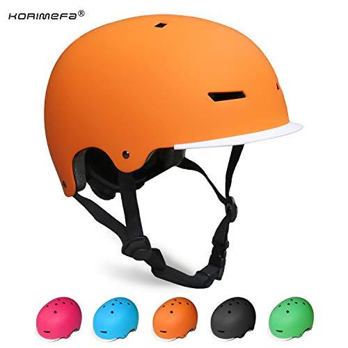 KORIMEFA Casco Bicicleta para Niños Ajustable con Certificación CE Resistencia al Impacto con Visera Extraíble para Ciclismo Monopatín Patines sobre Rueda para niños de Edad de 3-13 años (Naranja, M)