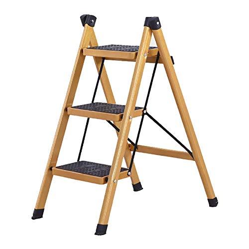 SLRMKK Tritthocker 2/3 3 Schritte Klappleiterhocker Home Tritthocker Leiter, rutschfeste Pedalleiter Isolierte Leiter Faltbar Tragbar, Gold (Größe: 3 Schritte)
