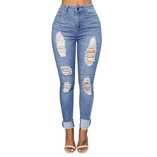 Pantaloni da Donna Estate Strappati Jeans Lhwy Denim Semplice Glamorous da Donna Fori Cher Pantaloni Lunghi Slim Stretch Pantaloni Skinny Vita Alta Sport Jeans Casual (Color : Blau, Size : L)