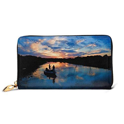 Lawenp Brieftasche Gedruckte Brieftasche Leder Reißverschluss Brieftasche Angeln Scenic Travel Wallet Telefon Clutch Geldbörse Kartenhalter Organizer Für Frauen Mädchen