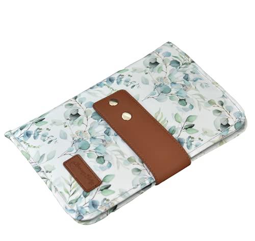 Bolsa de pañales para bebé con cambiador – Bolso cambiador para viaje con mucho espacio, eucalipto (blanco y menta)