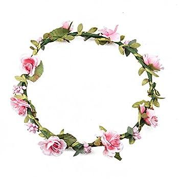 Floral Fall BOHO Headband Flower Crown Festival Wedding Beach Hair Wreath F-01  Purple   Pink