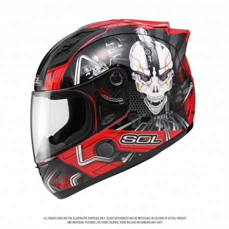 SOL Helmet SL 68S 11 Metal Man Black Red Silver Full Face