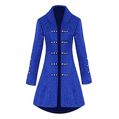 BOLAWOO-77 Damen Gothic Langer Jacquard Steampunk Luxuriös Jacke Gehrock Halloween Mode Marken Palast Königin Vampir Uniform Taille Schnürung Perlen Strickjacke (Color : Blau, Size : Tag L=Eu M)