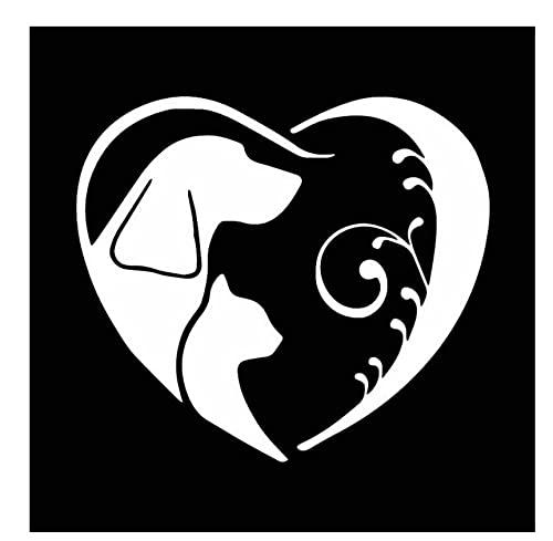 MDGCYDR Pegatinas Coche 14,6X12,9 Cm Perro Y Gato En Corazón De Lujo Pegatina para Coche Vinilo Pegatina para Ventana De Coche Negro/Plateado