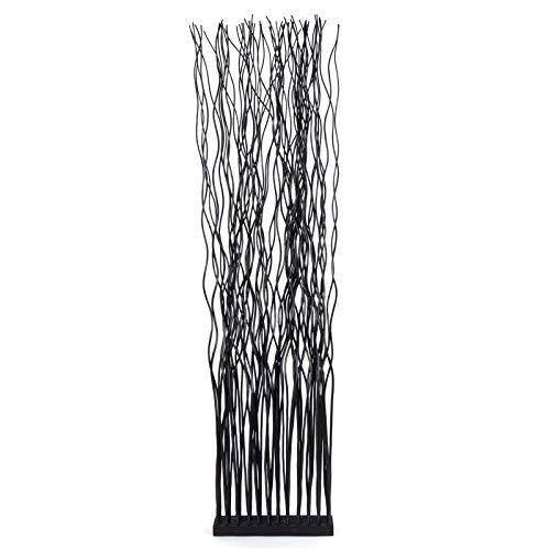 DESIGN DELIGHTS Weiden RAUMTEILER Wave | Weidenholz, 170x44 cm (HxB) | Paravent aus Weidenzweigen, Raumtrenner, Stellwand, Raum Trennwand | Farbe: schwarz