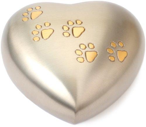 Urns UK Hertford Gedenkurne für Haustiere herzförmig 13,5 x 12,5 x 5cm Zinnoptik