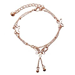 Chain Length: 18-23cm/7.0-9.0inch. Wide links for comfortable adjustment This foot chain is luxury, beautiful, shinning looking.New design very popular charms fashion anklets Very lightweight and comforatble to wear. The anklet chain is high quality ...