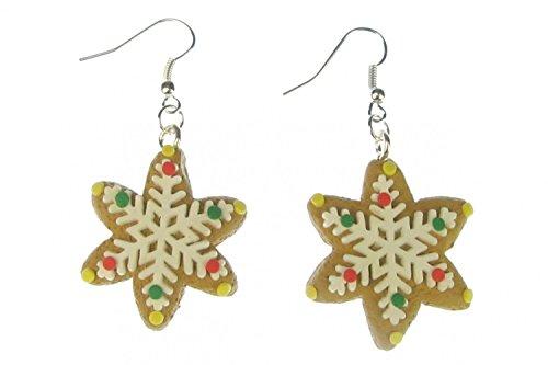 Zimtstern Ohrringe Miniblings Zimtsterne mit Zuckerguss Weihnachtsplätzchen Keks