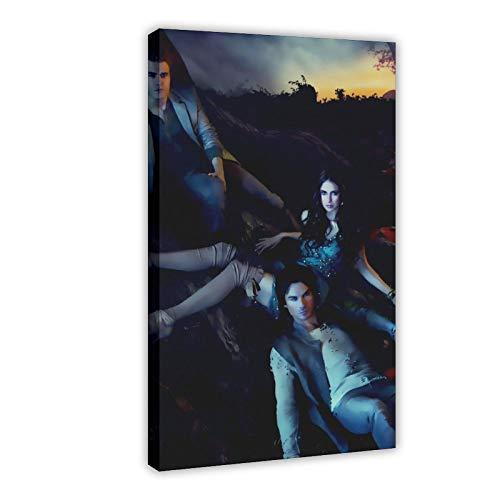 Poster su tela con stampa 'The Vampire Diaries', poster retrò su tela, decorazione da parete per soggiorno, camera da letto, 30 x 45 cm