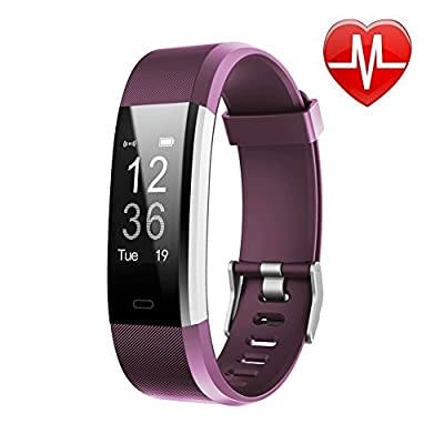 LETSCOM Fitness Tracker HR, Activity Tracker Watch with Heart Rate Monitor, Waterproof Smart Fitness Band with Step Counter, Calorie Counter, Pedometer Watch for Women and Men by LETSCOM