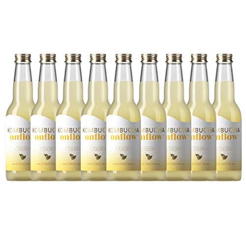 Te Kombucha bebida energetica kombucha scoby probióticos intestinales sin azucar añadido ecológico fermentado / botellas de kombucha Onflow (Citrico, PACK DE 9 BOTELLAS)