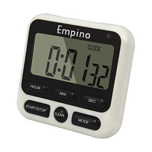 Empino Digital Kitchen Timer, Cooking Timer, 12-Hour Display Clock, Large Display, Strong Magnet Back, Loud Alarm, Memory Function, Count-Up & Count Down for Cooking Baking Sports Game Office Exercise