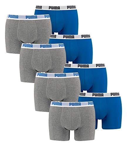 Puma Bodywear Puma 521015001 Herren Boxershorts 8er Pack verlängerte Beinform und formstabil, Groesse L, grau/blau