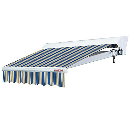 ADVANING 16'x10' Motorized Patio Retractable Awning | Luxury Series | Premium Quality, 100% Solution-Dyed European Acrylic UV Sun Shade, Color: Ocean Blue Stripes, EA1610-A447H2