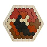 ZS ZHISHANG Wooden Hexagons Shape Block Puzzles Brain Teasers Toy for Kids Logic IQ Game Stem Montessori Educational Puzzle Gift for Kids Adults