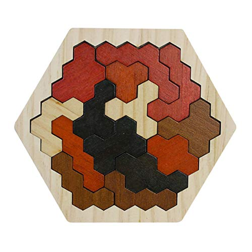 Wooden Hexagons Shape Block Puzzles Brain Teasers Toy for Kids Logic IQ Game Stem Montessori Educational Puzzle Gift for Kids Adults