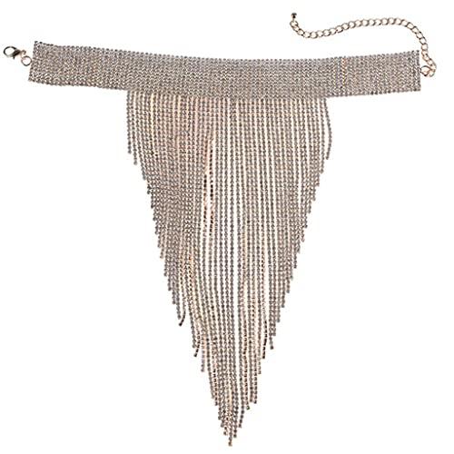 MEIBAOGE Gargantilla de diamantes de imitación para mujer, gargantilla con borla y babero, collar grueso para ocasiones formales, plata, 30 x 25 cm, cadena ajustable de 15 cm