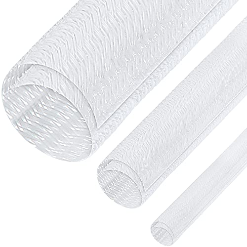 3 Pieces Cord Protector Wire Loom Tubing Cable Sleeve Split Sleeving for USB Charger Cable Cord Cover Audio Video Cable (White,1/2 Inch, 1/4 Inch, 3/4 Inch)