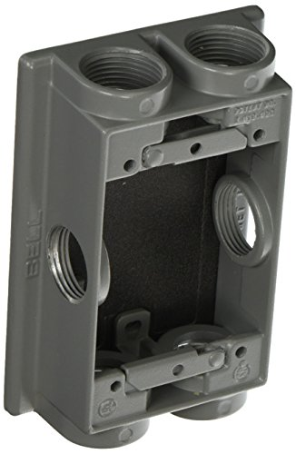 1-Gang Weatherproof Extension Adapter, Swing Arm, Six 3/4 in. Threaded Outlets, Gray