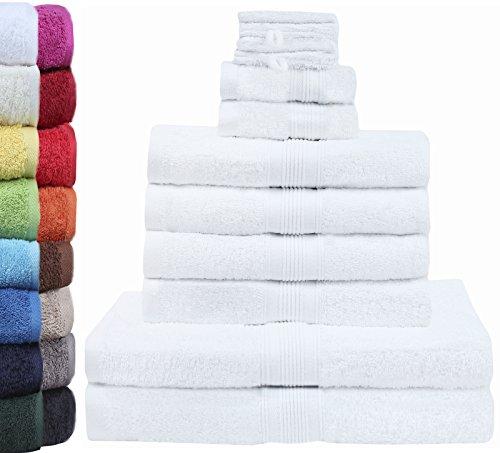 GREEN MARK Textilien 10 TLG. FROTTIER Handtuch-Set mit verschiedenen Größen 4X Handtücher, 2X Duschtücher, 2X Gästetücher, 2X Waschhandschuhe   Farbe: Weiß   Premium Qualität