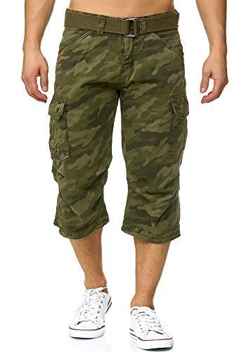 Indicode Herren Nicolas Check 3/4 Cargo Shorts kariert mit 6 Taschen inkl. Gürtel aus 100% Baumwolle | Kurze Hose Sommer Herrenshorts Short Men Pants Cargohose kurz für Männer Dired Camouflage 3XL