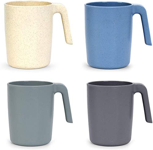 Showithgreen Weizenstroh Tasse mit Henke, 4er Umweltfreundliche Kaffeetassen  450 ml Trinkbecher für Kinder und Erwachsene Becher ohne Melamin für Wasser Milch Tee  Spülmaschinen & Mikrowellengeeignet