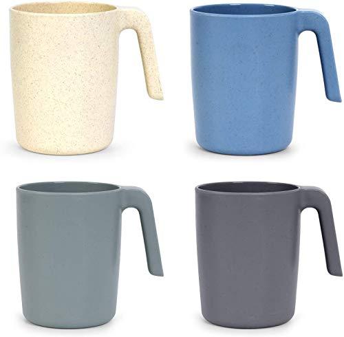 Showithgreen - Taza de paja de trigo con asas, 4 tazas de café respetuosas con el medio ambiente, 450 ml, para niños y adultos, sin melamina para agua, leche y té, apta para lavavajillas y microondas