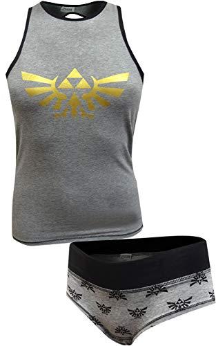 Nintendo Women's Zelda Tank and Underwear Set, Heather Grey, Large