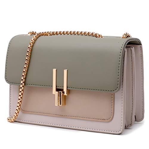 Crossbody Bags for Women Leather Cross Body Purses Cute Color-Block Designer Handbags Shoulder Bag Medium Size Green