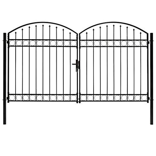 vidaXL Cancela de Valla Doble Puerta con Arco Jardín Patio Exterior Aire Libre Cerca Barrera Poste Partición Robusta Duradera Acero Negro 300x200 cm