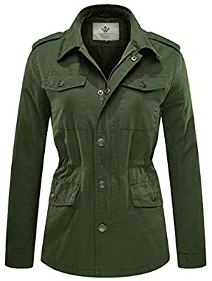 WenVen Women's Lapel Canvas Twill Military Anorak Jacket with Drawstring