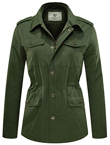 WenVen Women's Zip Up Military Anorak Safari Jacket with Pockets, Army Green, S