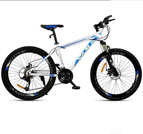 HCMNME Bicicleta Duradera Adulto de Bicicletas de montaña, Bicicletas de Marco Doble Freno de Disco de Acero de Alto Carbono /, Playa de Motos de Nieve Bicicletas, 24 Pulgadas Ruedas, Azul, 2