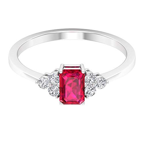 Anillo de oro rubí con forma octogonal de 0,65 ct, anillo de diamante certificado SGL de 0,15 ct, IJ-SI claridad de color, anillo nupcial de diamantes, 14K Oro amarillo, Size:EU 63