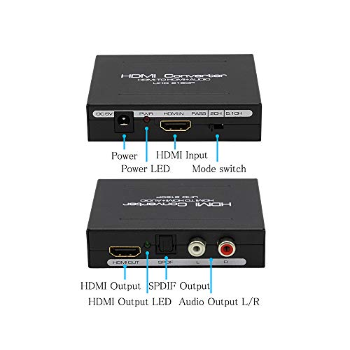 Usee HDMI Audio Extractor 4Kx2K 2160P HDMI to HDMI + Optical Toslink(SPDIF) + 2RCA(L/R) Stereo Analog Outputs Video Audio Splitter Converter for PS3 PS4 DVD Player Sky HD Box