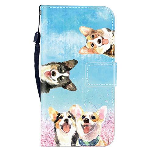 Sunrive Hülle Für Meizu M5S, Magnetisch Schaltfläche Ledertasche Schutzhülle Etui Leder Case Cover Handyhülle Tasche Schalen Lederhülle MEHRWEG(W8 Hündchen)
